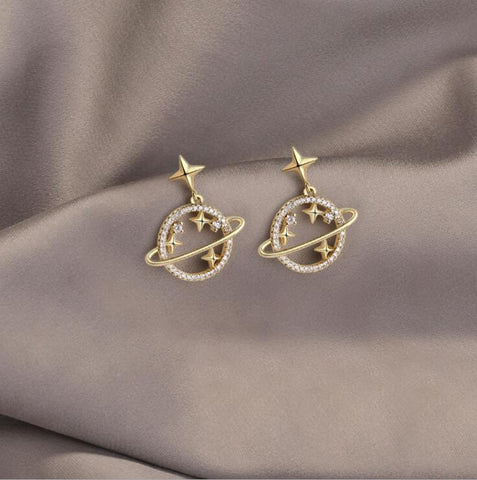 DIAMOND PLANET EARRINGS