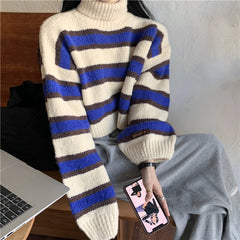 HIGH NECK STRIPED SHORT KNIT SWEATER