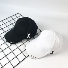 RING X LETTER EMBROIDERED CAP