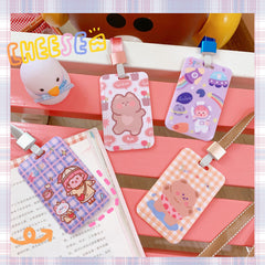 CARTOON BEAR HANGING NECK CARD HOLDER