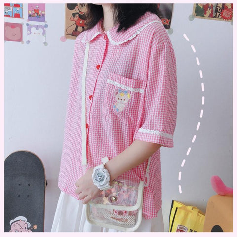 HEART BUTTON BEAR PLAID SHIRT