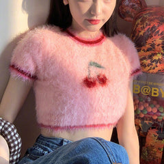 FURRY CHERRY CROP TOP