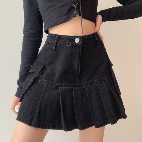POCKET STITCHING DENIM PLEATED SKIRT