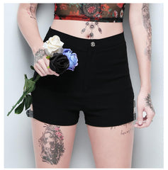 PUNK CUT OUT METAL BUCKLE STRETCH SHORTS