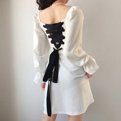 BACKLESS TIE UP SQUARE NECK DRESS