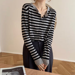 STRIPED LONG SLEEVE KNIT CARDIGAN TOP