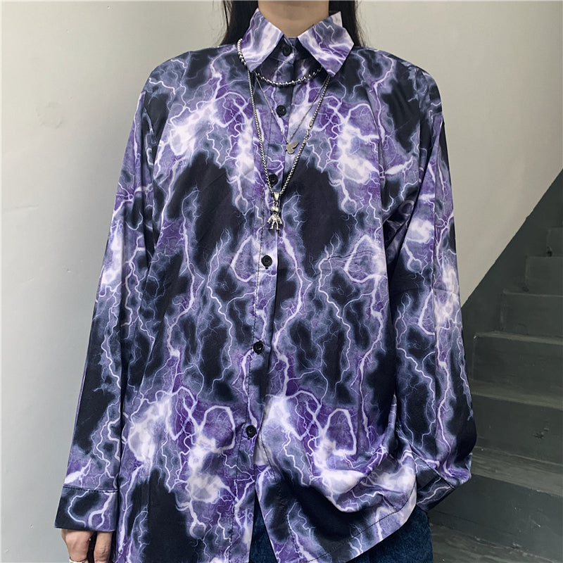 LIGHTNING PRINT LONG SLEEVE SHIRT