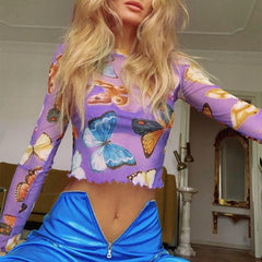PURPLE BUTTERFLY MESH TOP