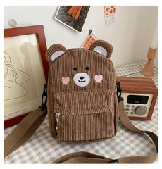 CUTE BEAR CORDUROY CROSSBODY BAG