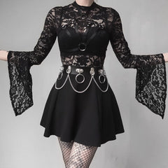 LACE FLARED SLEEVE HOLLOW BODYSUIT