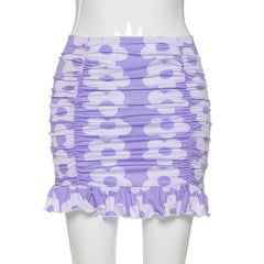 FLOWER RUCHED MINI SKIRT