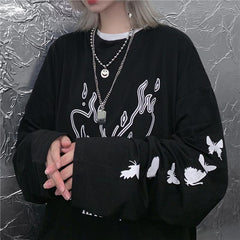 DARK FLAME BUTTERFLY PRINT LONG SLEEVE T-SHIRT