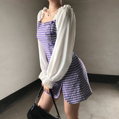 RETRO CONTRAST PLAID PUFF SLEEVE DRESS