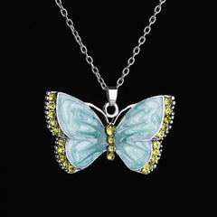 VINTAGE PAINTED BUTTERFLY NECKLACE