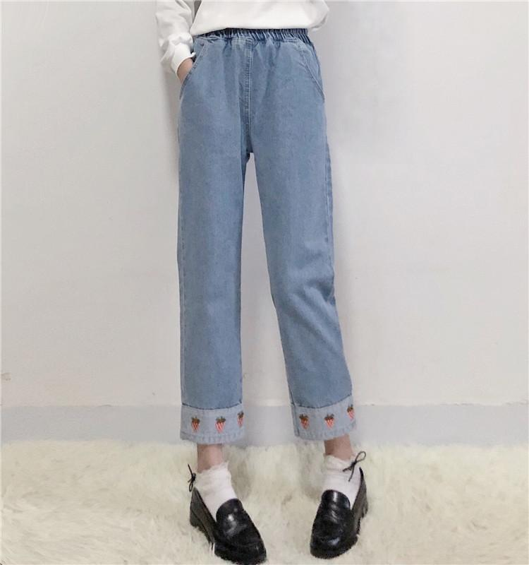 STRAWBERRY EMBROIDERED DENIM PANTS