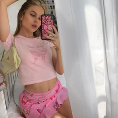 PINK BUTTERFLY CROP TOP