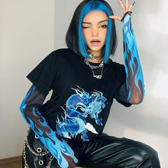 DRAGON FLAME MESH SLEEVE TEE