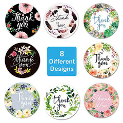 FLORAL THANK YOU ROUND STICKERS (500 PCS)