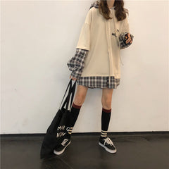 PLAID SLEEVE FAKE TWO PIECE HOODIE