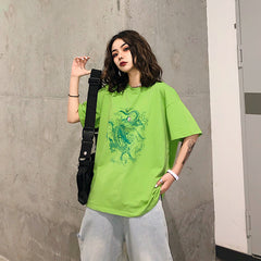 GREEN DRAGON PRINT LOOSE TEE