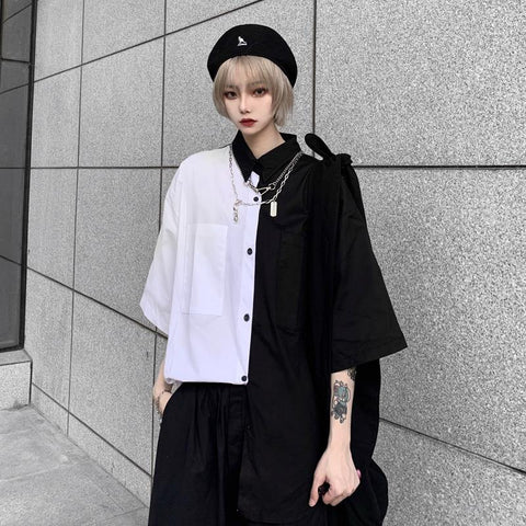 RETRO CONTRAST B&W LOOSE SHIRT