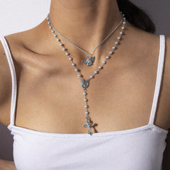 ANGEL CROSS PEARL TASSEL NECKLACE