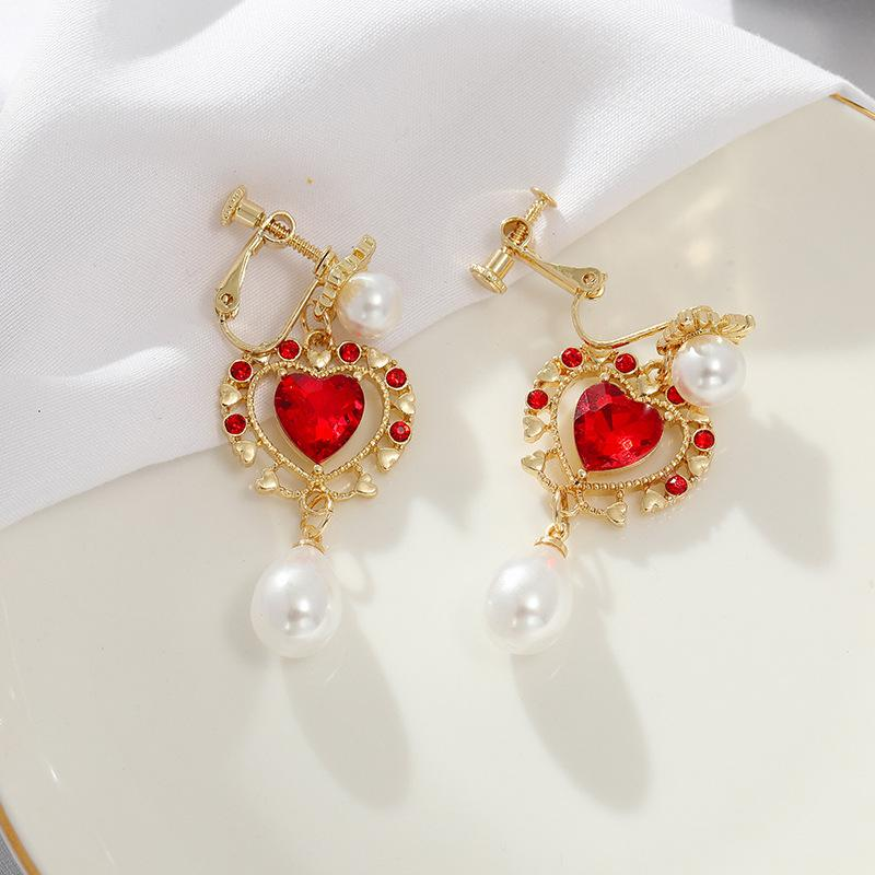 VINTAGE RED HEART PEARL EARRINGS