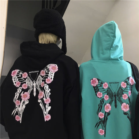 BUTTERFLY PRINT LETTERING HOODIE