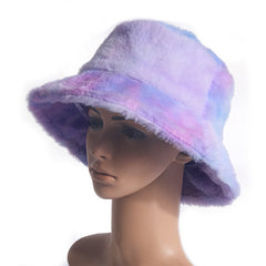 FURRY RAINBOW BUCKET HAT