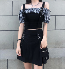 PLAID PUFF SLEEVE SLING TOP AND SKIRT SET