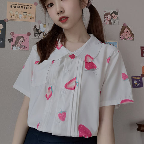 STRAWBERRY DOLL COLLAR CHIFFON SHIRT