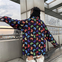 COLORFUL BUTTERFLY PRINT LONG SLEEVE SHIRT