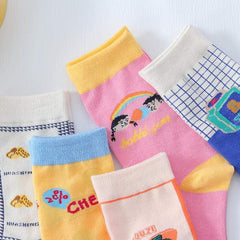 CARTOON PEANUT MILK SOCKS (5 pairs)