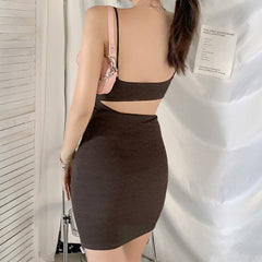 OPEN BACK CONTRAST IRREGULAR SLING DRESS