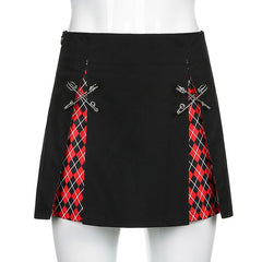 CHECKED PIN SLIT SKIRT