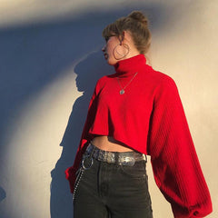 RED TURTLENECK LONG SLEEVE KNIT TOP