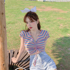 RAINBOW STRIPED V-NECK DRAWSTRING T-SHIRT