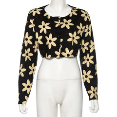 FASHION FLOWER PRINT CARDIGAN