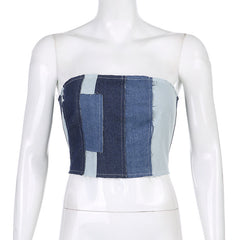 PATCHWORK DENIM TUBE TOP