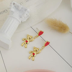 CUTE HEART BEAR EARRINGS