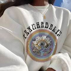 DEMON EYE PRINT CREW NECK PULLOVER SWEATER
