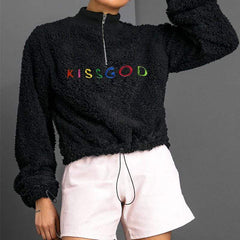 KISS GOD FUR ZIP SWEATER