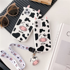 3D COW PRINT IPHONE CASE WITH LANYARD (I7-I12 PRO MAX)