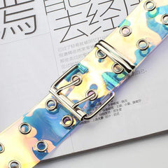 HOLOGRAPHIC TRANSPARENT CHAIN BELT