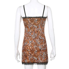 LEOPARD PRINT LACE SLIM DRESS