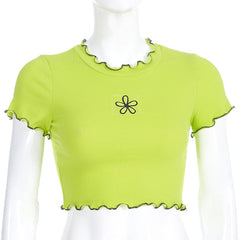 GREEN FLOWER EMBROIDERED CROP TOP