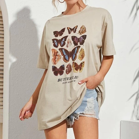 BUTTERFLY PRINT MID-LENGTH T-SHIRT