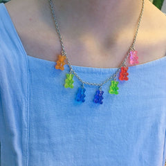 CANDY COLOR BEAR NECKLACE