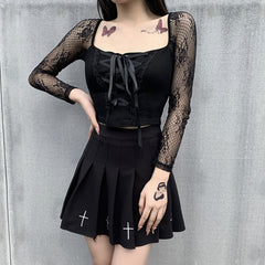 LACE LONG SLEEVE STITCHING SQUARE COLLAR TOP