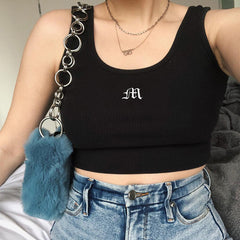 LETTER EMBROIDERED TANK TOP